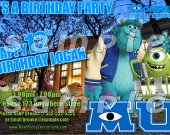 Monsters University Personalized 4x6 Birthday Party Invitations - Style 6