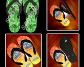 Minecraft Creeper Flip Flops Sandals (Youth Sizes)