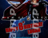 Man of Steel Personalized 4x6 Birthday Party Invitations - Style 2