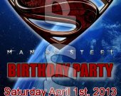 Man of Steel Ticket Style Personalized Party Invitations - Style 1