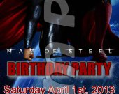 Man of Steel Ticket Style Personalized Party Invitations - Style 2