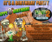 Plants vs. Zombies 2 4x6 Personalized Birthday Party Invitations - Style 1