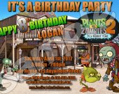 Plants vs. Zombies 2 4x6 Personalized Birthday Party Invitations - Style 2