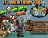 Plants vs. Zombies 2 4x6 Personalized Birthday Party Invitations - Style 3