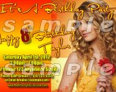 Taylor Swift Personalized 4x6 Birthday Party Invitations - Style 1
