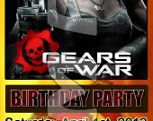 Gears of War 3 Ticket Style Personalized Party Invitations - Style 4