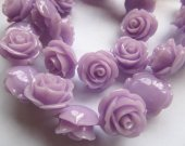fashion 20mm full strand  resin flower cab rose carved florial lite purple  assortment  handmade craft supplies