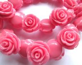 fashion 20mm full strand  resin flower cab rose carved florial cherry pink red  assortment  handmade craft supplies