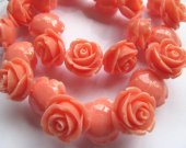 fashion 20mm full strand  resin flower cab rose carved florial  oranger assortment  handmade craft supplies