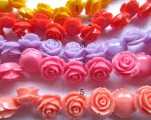 fashion 20mm 80pcs resin flower cab rose carved florial assortment  handmade craft supplies