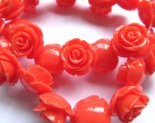 fashion 15mm full strand  resin flower cab rose carved florial oranger yellow  assortment  handmade craft supplies