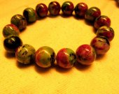 high quality  12mm genuine ruby zoisite epidote  gemstone round ball handmade jewelry bead bracelet  8inch/L