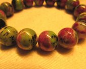 high quality  14mm genuine ruby zoisite epidote  gemstone round ball handmade jewelry bead bracelet  8inch/L