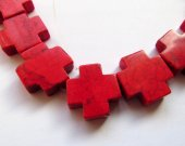 high quality 30mm 2strands  turquoise gemstone crosses hot red assortment  jewelry  bead