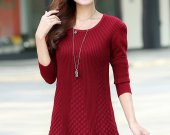 2014new spring fahsion women long sweater lace hem dress puff sleeve pullover long knitswear knit blouses/shirt outwear
