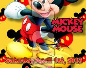 Mickey Mouse Ticket Style Personalized Party Invitations - Style 1
