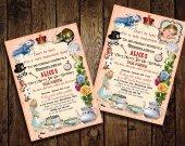 Alice in Wonderland Birthday Party Invitation - for Birthday, Baby Shower, Bridal shower Tea Party - Printable DIY