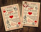 Alice in Wonderland Birthday Party Invitation - - Vintage Playing Card Tea Party - Printable DIY