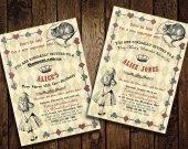 Alice in Wonderland Bridal Shower Invitation - for Birthday, Baby Shower, Bridal shower Tea Party - Printable DIY