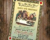 Alice in Wonderland Birthday Invitation - for Birthday, Baby Shower, Bridal shower Tea Party - Printable DIY