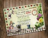 Alice in Wonderland Birthday Invitation - for Birthday, Baby Shower, Bridal Shower Tea Party - Printable, DIY