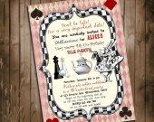 Alice in Wonderland Invitation - for Birthday, Baby Shower, Bridal Shower Tea Party - Printable, DIY