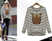 2014new spring fashion women print owl stripe t shirt loose fit batwing sleeve knit blouses knitswear tops