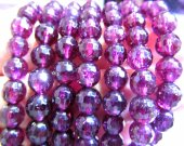 AAA grade 6-10mm 8inch genuine garnet rhodolite beads  round ball faceted  rose red jewelry beads bracelete