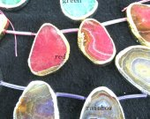 3strands 35-60mm Agate gemstone Druzy briolette cracked freeform slab assortment  focal pendant bead