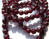 free ship--high quality 7-8mm 8inch genuine garnet rhodolite beads  round ball cut rose red jewelry beads bracelete