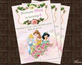 Disney Princesses Birthday Party Invitation 02 - Digital File - Printable