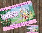 Little Disney Princesses Birthday Party Invitation with Photo 04 - Digital File - Printable
