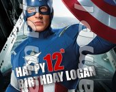 Captain America Personalized 4x6 Birthday Party Invitations - Style 5