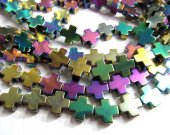 5strands 10x10mm wholesale  hematite beads cross mystic rainbow connector bead