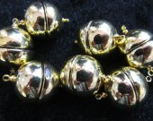 high quality 20mm 50pcs ball round margnetic clasp  light smooth gold  assortment  connectors  jewelry beads