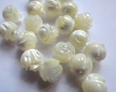 handmade 8mm 50pcs genuine MOP shell gergous Mother of Pearl Flower Carved White  Rose Cabochon jewelry bead -- Half Drilled