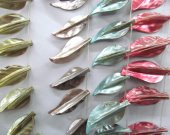 fashion lots 25-55mm 5strands natural shell gergous leaf  rainbow ring charm bead
