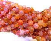 5strands 8-12mm high quality genuine oranger chalcendony gemstone round ball jewelry beads