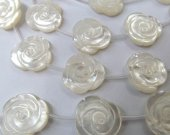 large 20mm full strand genuine shelll bead rose florial flowers cabochons white jewelry bead DIY--half drilled