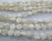 lots 12mm 100pcs genuine shelll bead rose florial flowers cabochons white jewelry bead DIY--two sides