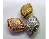 AAA grade  12x17mm 12pcs  pave metal spacer &cubic zirconia crystal oval diamond  silver gold mixed jewelry beads