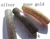 AAA grade  10x40mm 6pcs  pave metal spacer &cubic zirconia crystal column tube curve silver gold mixed jewelry beads