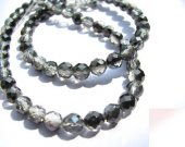 18strands genuine rock crysal quartz 6mm,high quality round ball faceted white black smoky jewelry beads
