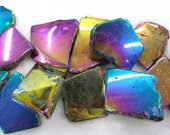 larger 25-55mm 17inch /L agate gemstone freeform nuggets teardrop slab  points drilled  mystic rainbow blue jewelry pendant bead