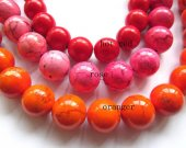 LOT  turquoise gemstone  round ball  green pink hot red blue oranger black mixed  jewelry  beads 16mm --2strands