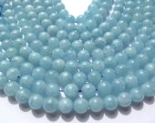 bulk gemstone ball round natural aquamarine-beryl stone 6mm--5strands 16inch/per