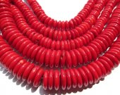 rare ocean coral 10mm 2strands,  heishi pinwheel button hot red gemstone jewelry beads