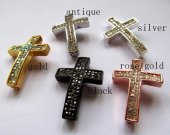 order list  sideway cross metal spacer carved black jet  mixed  clear rhinestone  jewelry beads 25x38mm