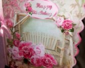 Garden Seat Side Scallop Female Birthday Card with Pink Roses, Peonies, Rhinestone Studded Daisies, Pink Bow and Ribbon