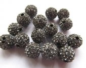 top quality bling ball tone spacer  round ball grey gray  crystal  rhinestone  jewelry beads 10mm 100pcs